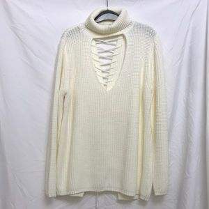 Keyhole turtle neck sweater with lace up back
